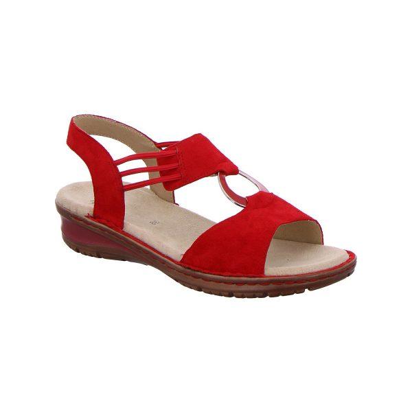 Дамски кожени сандали с ластици Ара / ara 12-27234-75 - червени