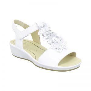 Бели кожени сандали с цветя Ара / ara 12-28028-07