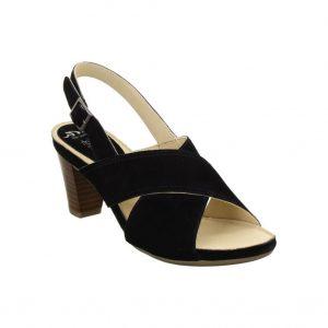 Елегантни велурени черни сандали на ток Ара / ara 12-34676-01