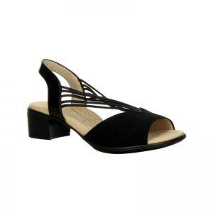 Дамски кожени сандали на ток с ластици Ара / ara 12-35773-01 - черни