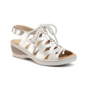 Дамски кожени сандали с връзки Ара / ara 12-39025-08 - блестящо бяло