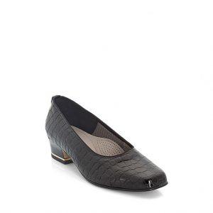 Дамски обувки черен лак с нисък ток Ара 12-41859-06 крокод. шарка - снимка 1