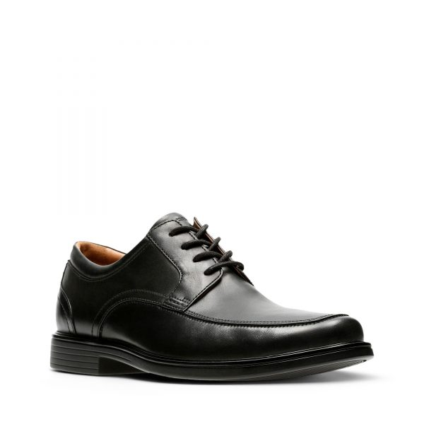 Мъжки елегантни обувки Clarks Un Aldric Park Black Leather - снимка 1