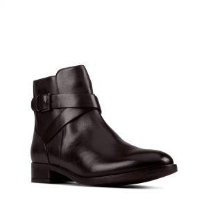 Дамски боти Clarks Hamble Buckle Black Leather - снимка 1