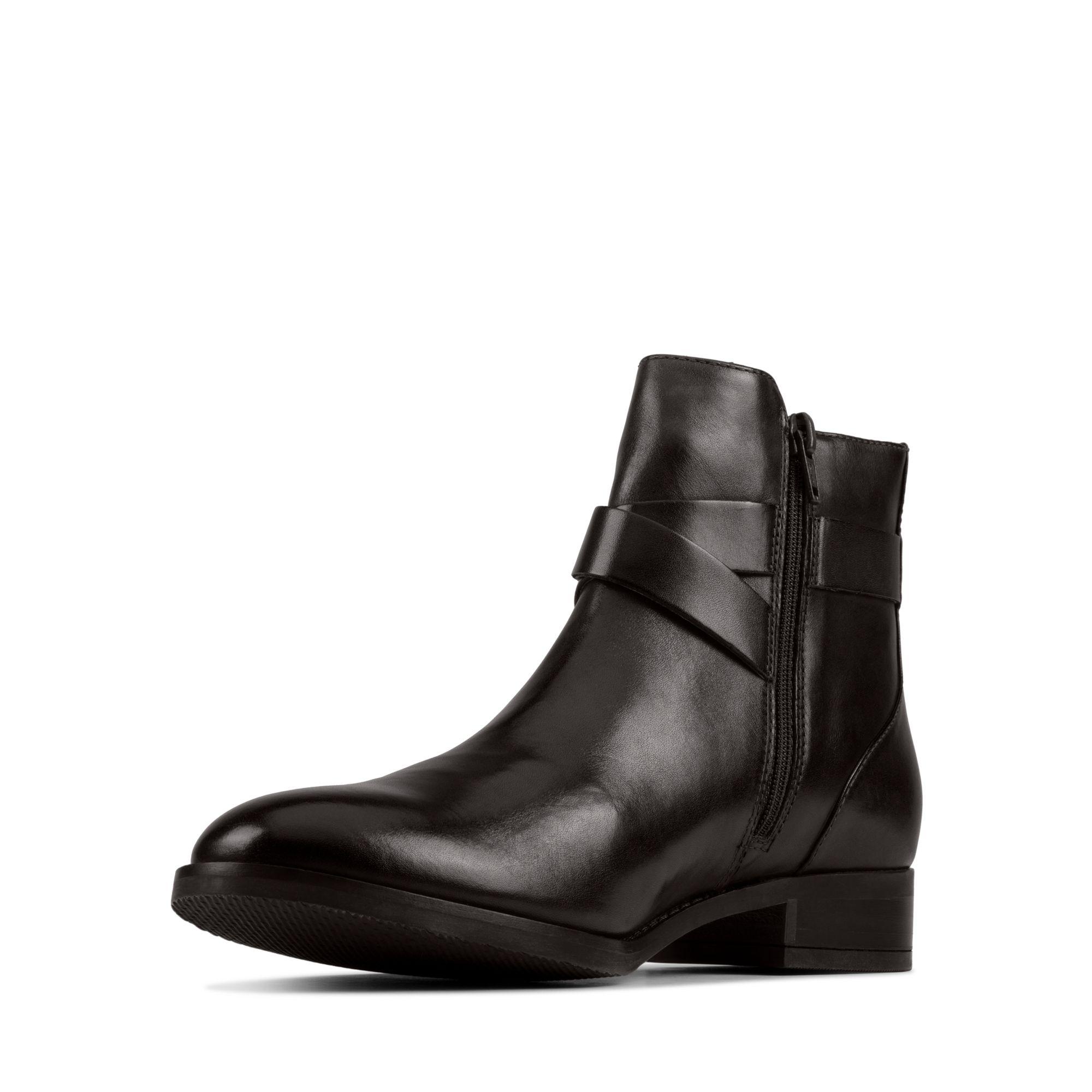 Дамски боти Clarks Hamble Buckle Black Leather - снимка 4