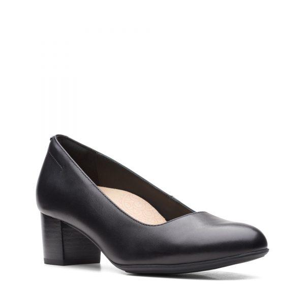 Дамски обувки на ток Clarks Linnae Pump Black Leather - снимка 1