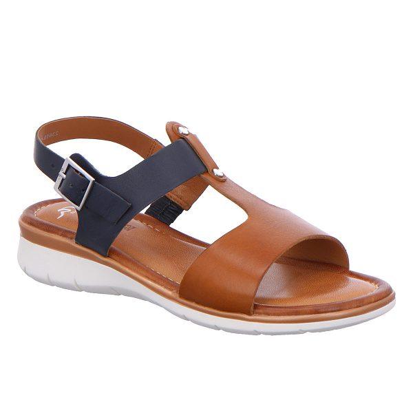 Дамски сандали от ест. кожа ara 12-23610-05 тъмно синьо с кафяво - снимка 1