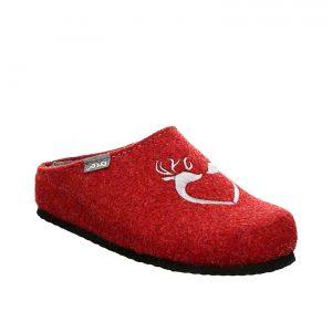 Дамски червени пантофи със сърце от вълнен филц ara 15-29934-07