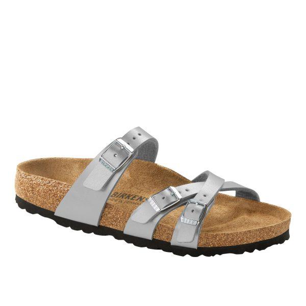 Дамски чехли от биркофлор Birkenstock Franca сребрист цвят - снимка 1