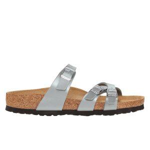 Дамски чехли от биркофлор Birkenstock Franca сребрист цвят - снимка 2