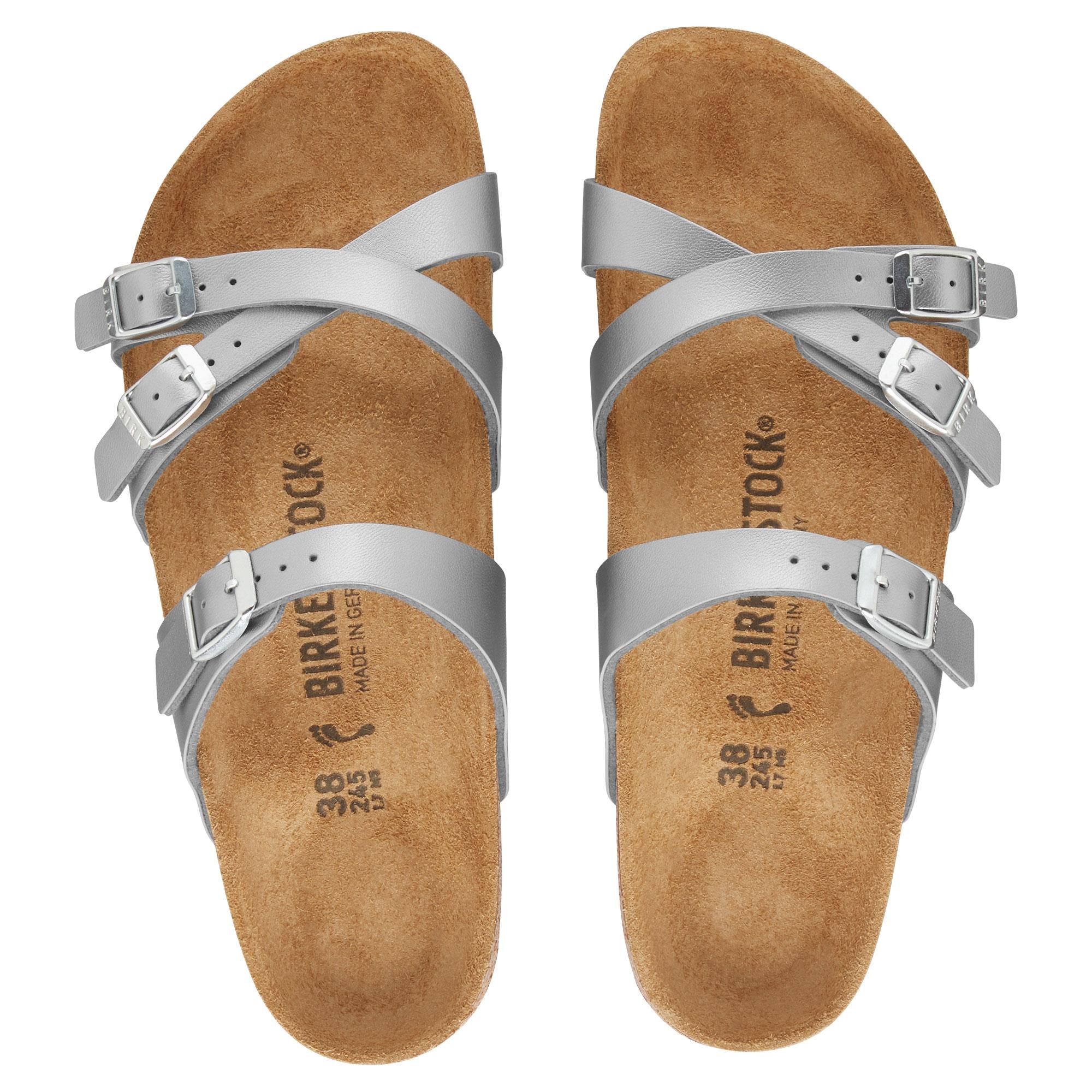Дамски чехли от биркофлор Birkenstock Franca сребрист цвят - снимка 3