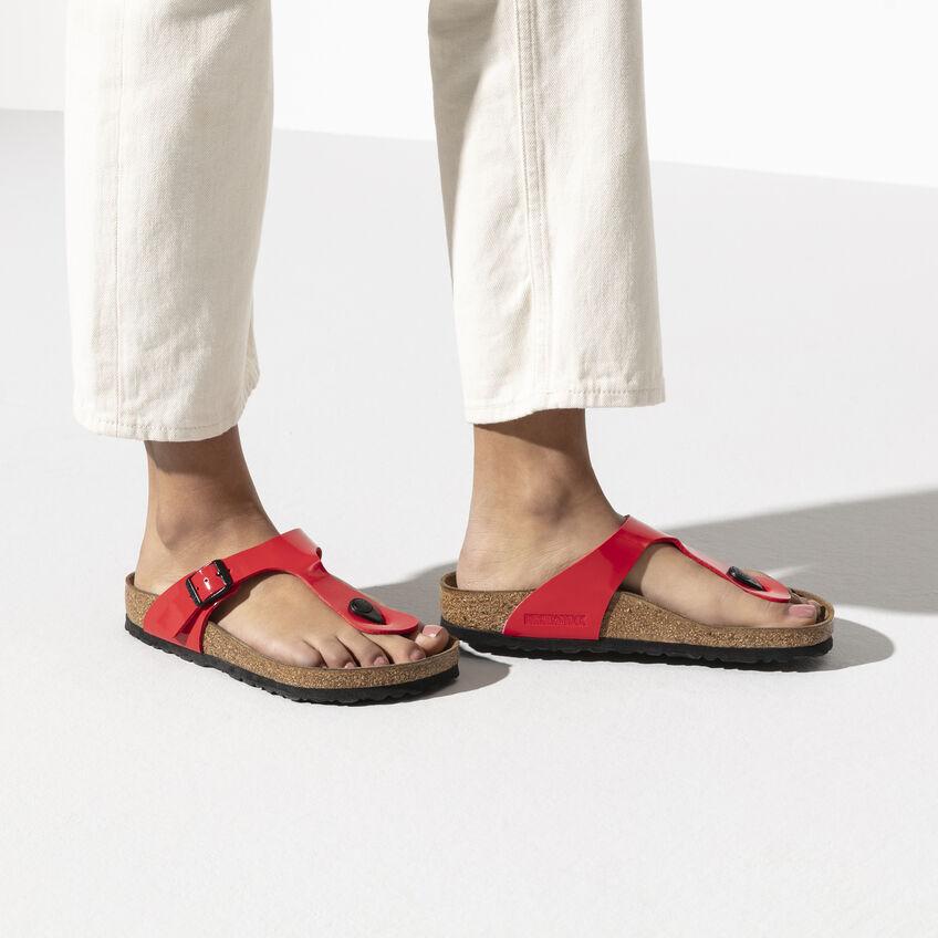 Дамски чехли от биркофлор Birkenstock Gizeh червена череша - снимка 7