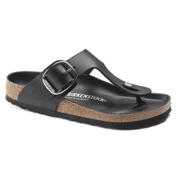 Дамски чехли от ест. кожа Birkenstock Gizeh Big Buckle черен цвят - снимка 1