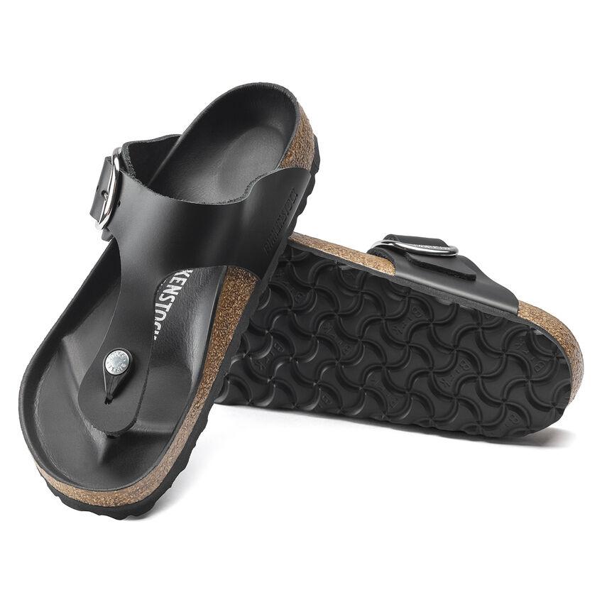 Дамски чехли от ест. кожа Birkenstock Gizeh Big Buckle черен цвят - снимка 7