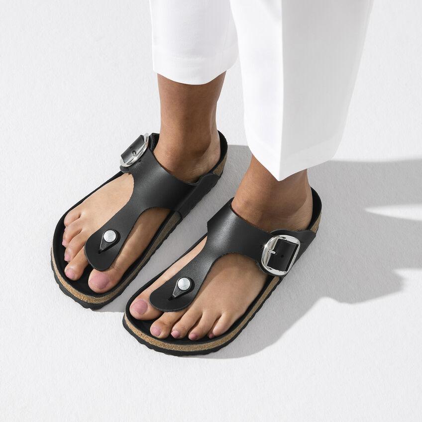 Дамски чехли от ест. кожа Birkenstock Gizeh Big Buckle черен цвят - снимка 8