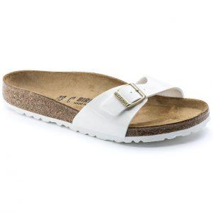 Дамски чехли от биркофлор Birkenstock Madrid бял лак - снимка 1