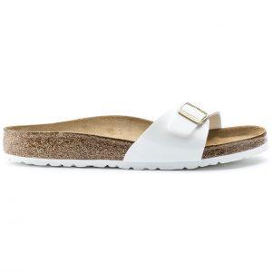 Дамски чехли от биркофлор Birkenstock Madrid бял лак - снимка 2