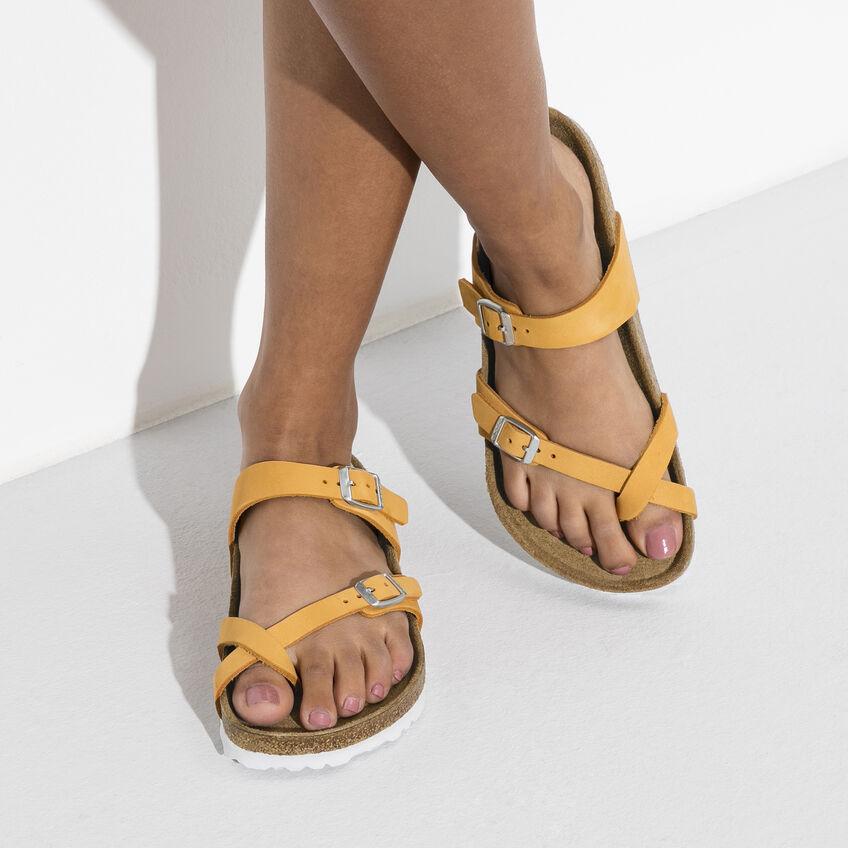 Дамски чехли от набук Birkenstock Mayari оранжеви с мека стелка - снимка 8
