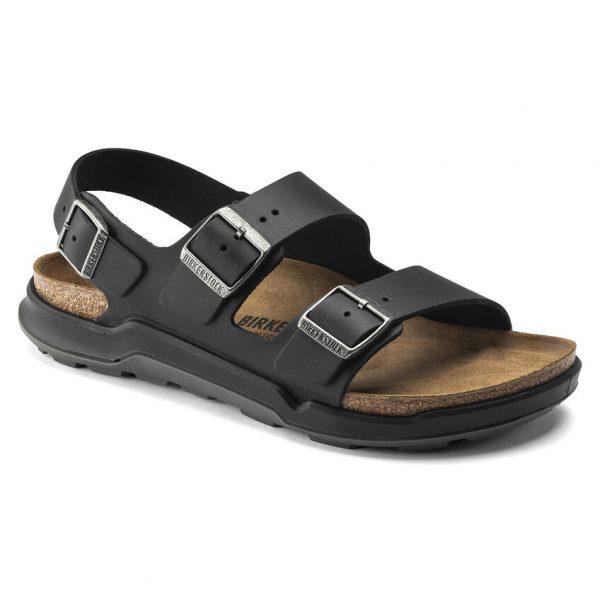 Мъжки кожени сандали с еластична подметка Birkenstock Milano CT Artic Old черни - снимка 1