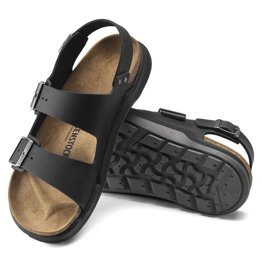 Мъжки кожени сандали с еластична подметка Birkenstock Milano CT Artic Old черни - снимка 5