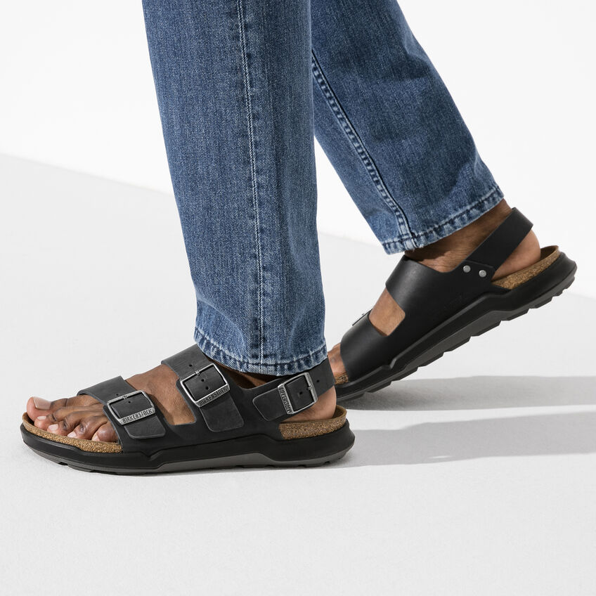 Мъжки кожени сандали с еластична подметка Birkenstock Milano CT Artic Old черни - снимка 8