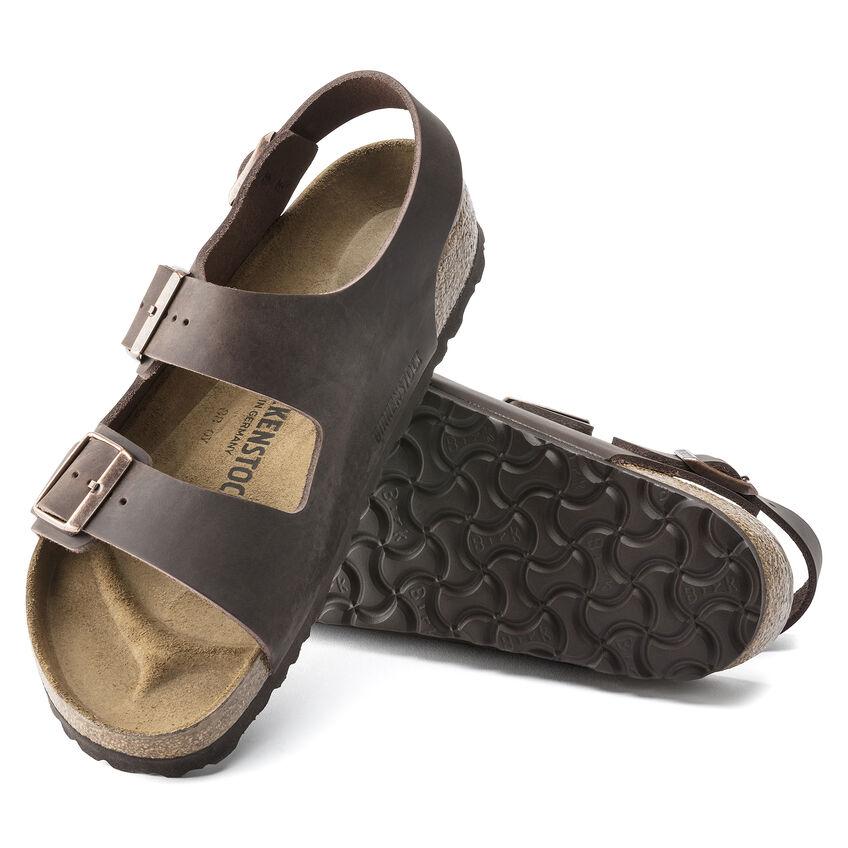 Унисекс сандали от ест. кожа Birkenstock Milano FL Habana тъмно кафяви - снимка 5