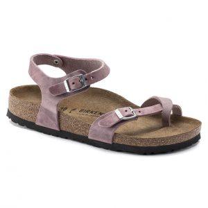 Дамски сандали от промазана ест. кожа Birkenstock Taormina цвят лавандула - снимка 1