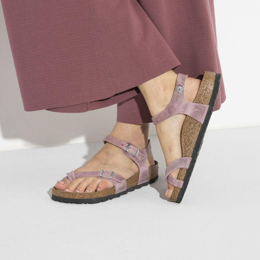Дамски сандали от промазана ест. кожа Birkenstock Taormina цвят лавандула - снимка 8