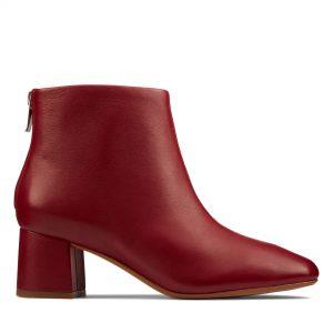 Дамски елегантни боти Clarks Sheer55 Zip Wine Leather червени - снимка 2