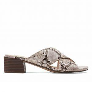Дамски чехли на ток Clarks Caroleigh Erin Natural Snake змийски - снимка 2