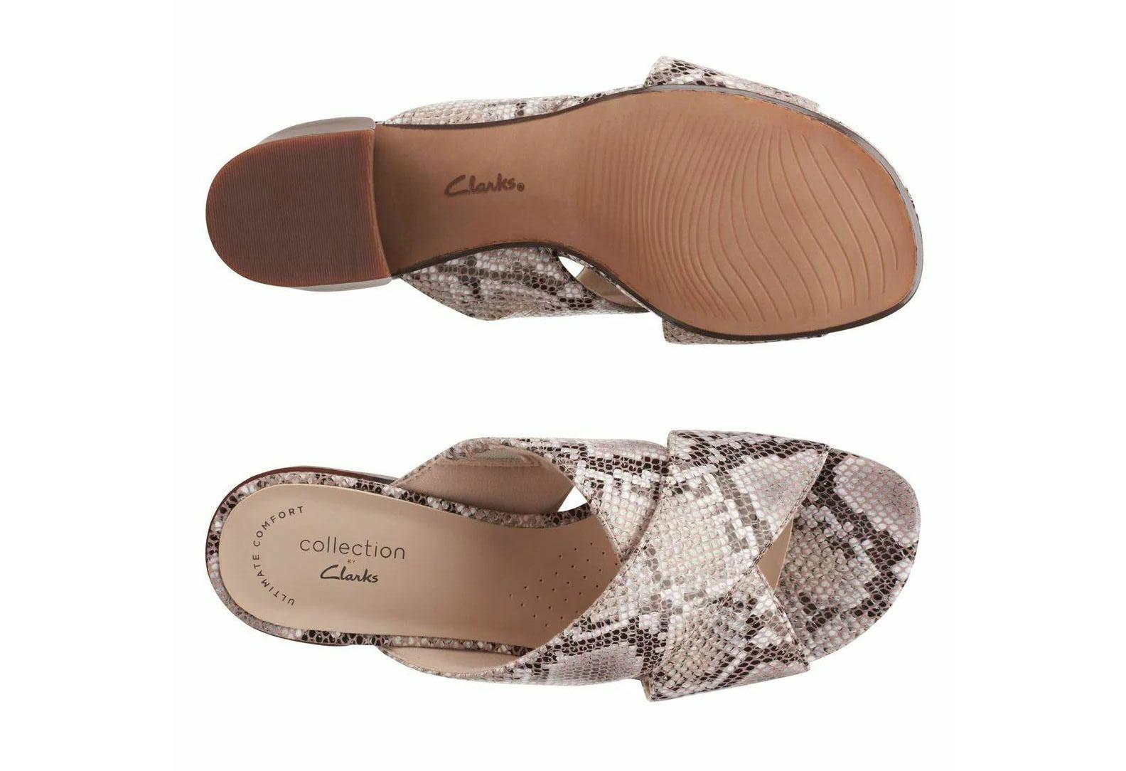 Дамски чехли на ток Clarks Caroleigh Erin Natural Snake змийски - снимка 7