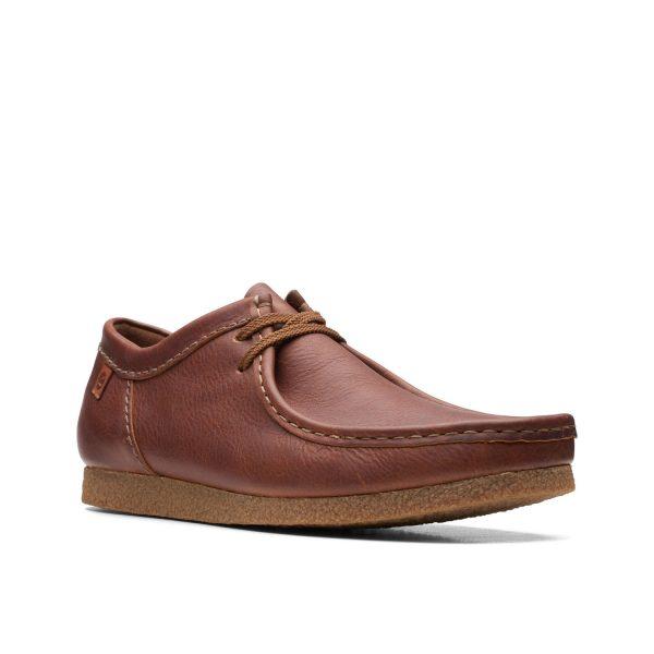 Мъжки ежедневни обувки от ест. кожа Clarks Shacre II Run Tan Tumbled кафяви - снимка 1