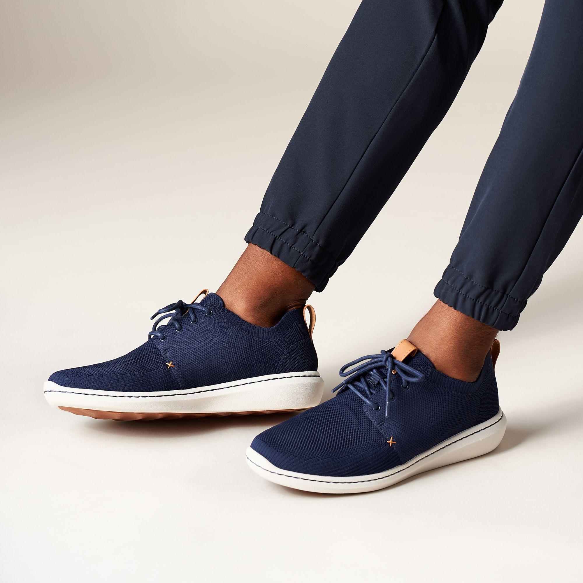 Мъжки ежедневни обувки от текстил Clarks Step Urban Mix Navy морско синьо - снимка 9