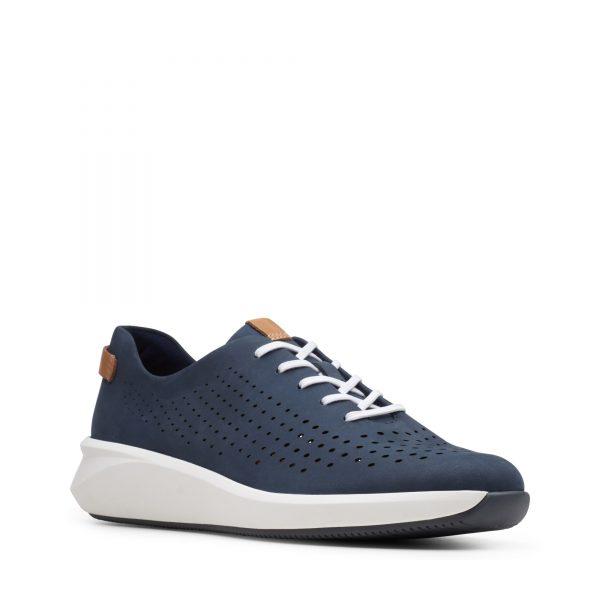 дамски ежедневни перфорирани обувки с връзки Clarks Un Rio Tie морско сини от набук - снимка 1