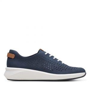 дамски ежедневни перфорирани обувки с връзки Clarks Un Rio Tie морско сини от набук - снимка 2