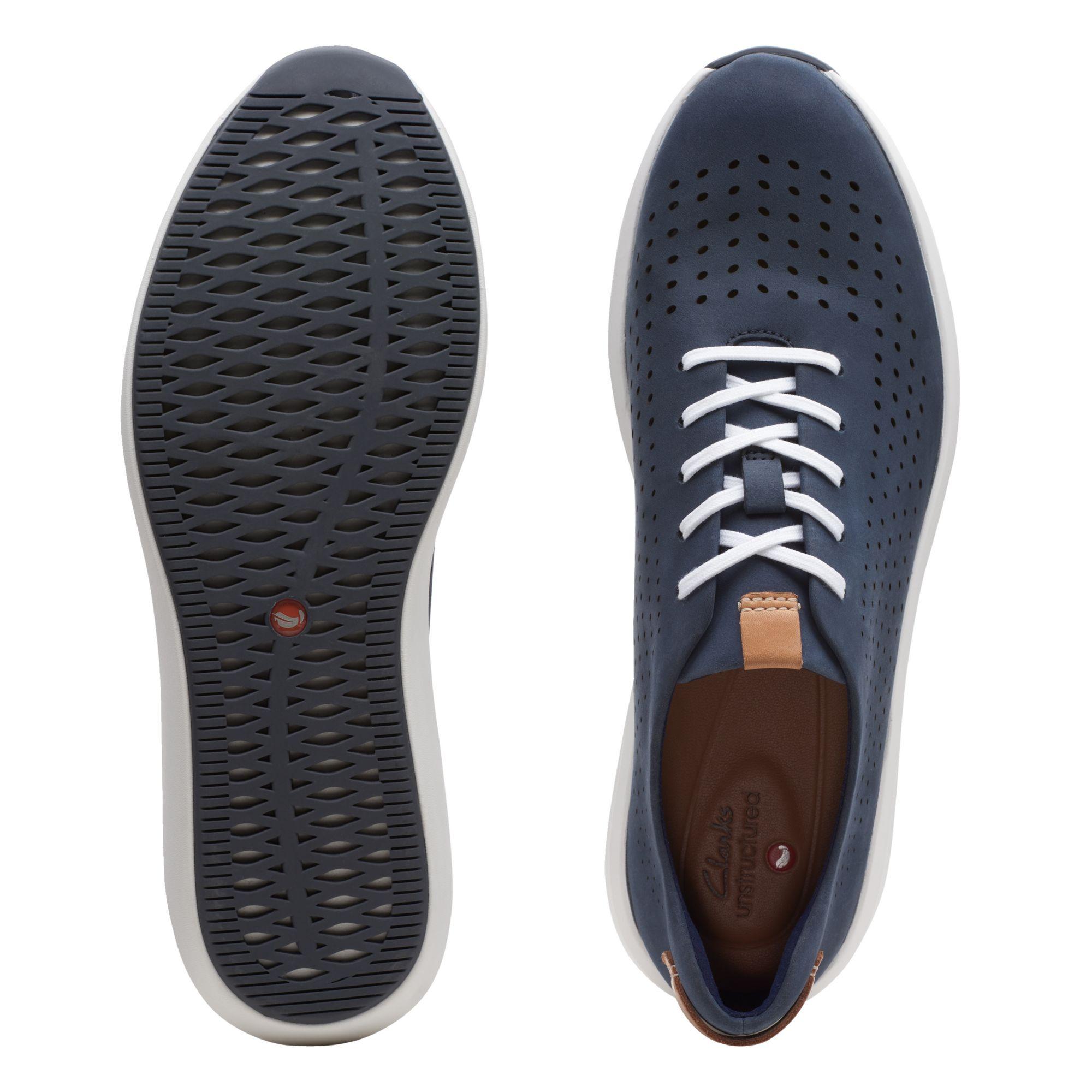 дамски ежедневни перфорирани обувки с връзки Clarks Un Rio Tie морско сини от набук - снимка 7