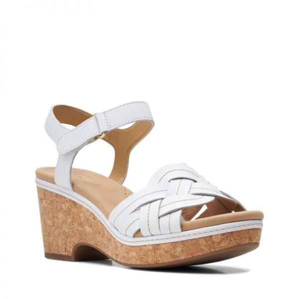 Дамски кожени сандали на ток Clarks Giselle Coast бели - снимка 1