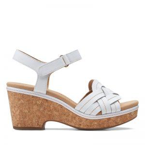 Дамски кожени сандали на ток Clarks Giselle Coast бели - снимка 2