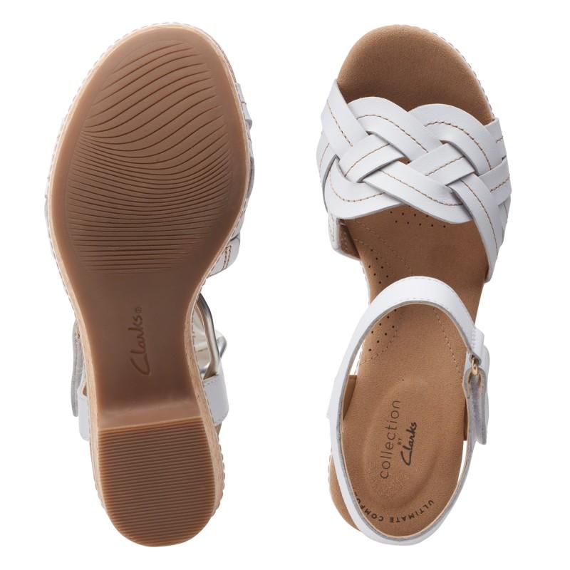 Дамски кожени сандали на ток Clarks Giselle Coast бели - снимка 7