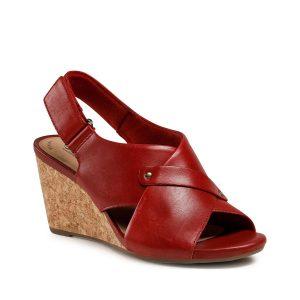 Дамски елегантни кожени сандали на ток Clarks Margee Eve червени - снимка 1
