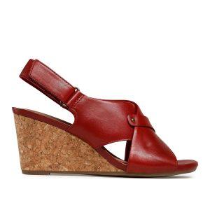 Дамски елегантни кожени сандали на ток Clarks Margee Eve червени - снимка 2