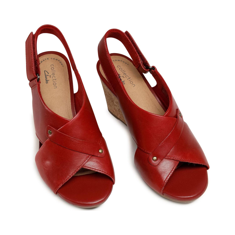 Дамски елегантни кожени сандали на ток Clarks Margee Eve червени - снимка 6