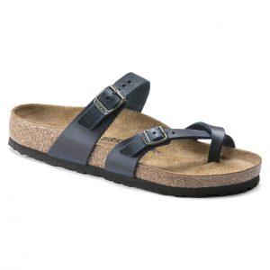 Дамски чехли от ест. кожа Birkenstock Mayari тъмно сини - снимка 1