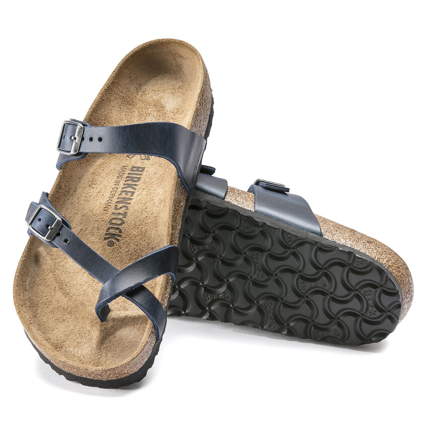 Дамски чехли от ест. кожа Birkenstock Mayari тъмно сини - снимка 7
