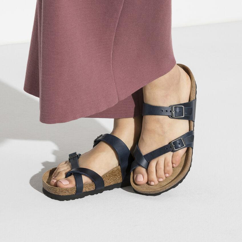 Дамски чехли от ест. кожа Birkenstock Mayari тъмно сини - снимка 8