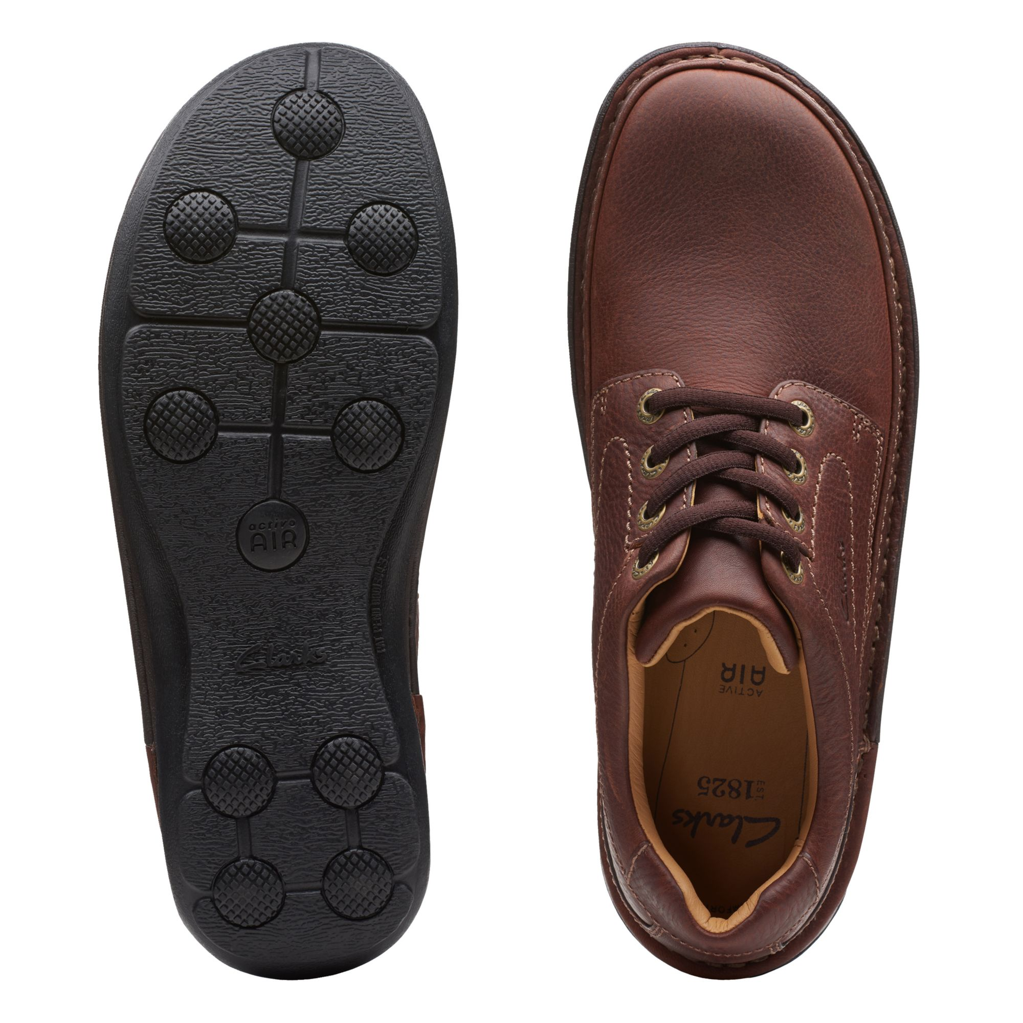 Голям размер мъжки ежедн. обувки Clarks Nature Three махагон - снимка 7