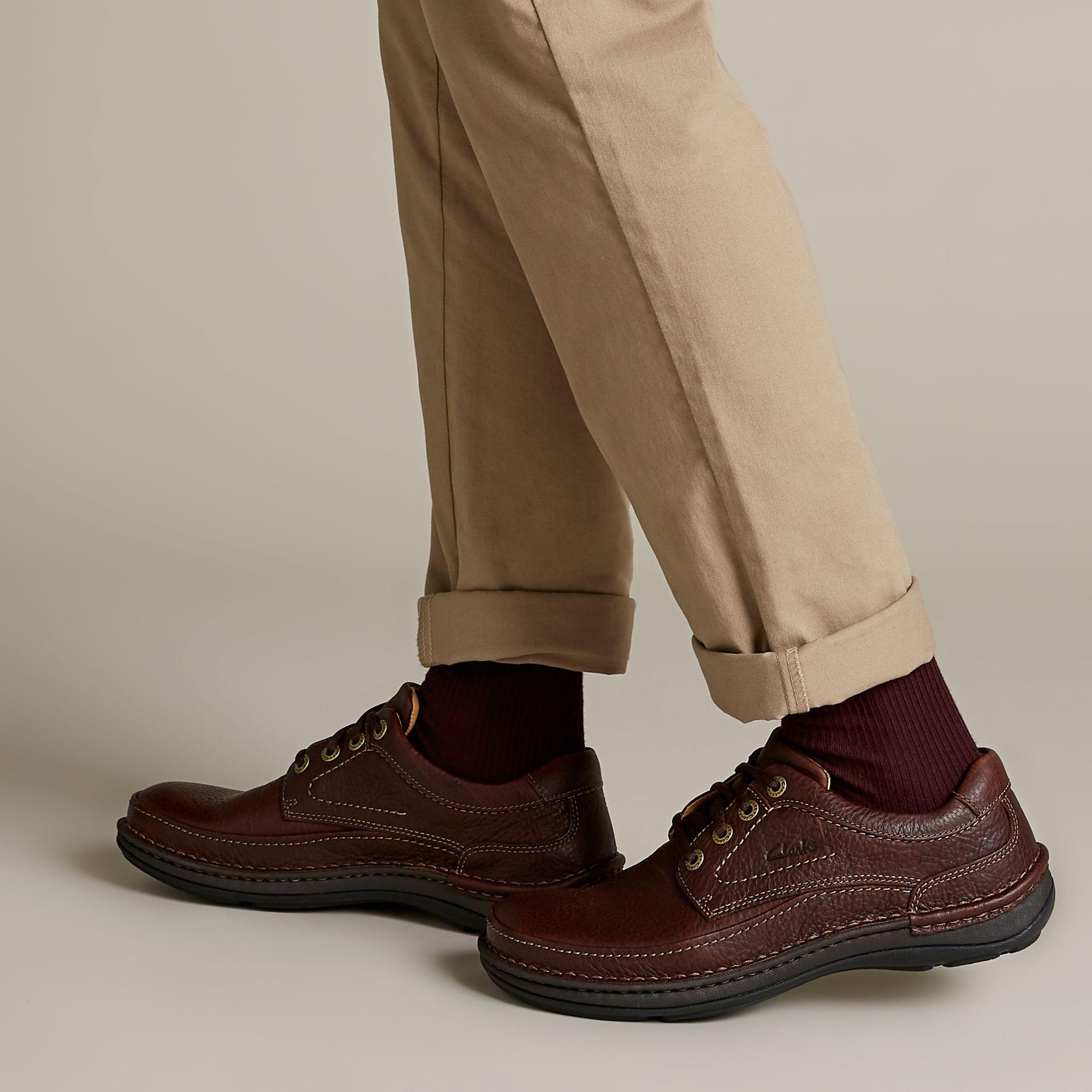 Голям размер мъжки ежедн. обувки Clarks Nature Three махагон - снимка 8