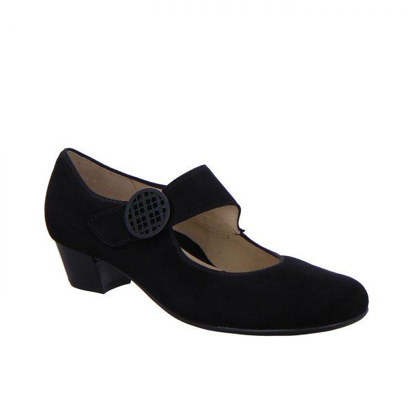 Дамски черни елегантни обувки на ток с каишка Ара 12-63630-01 - снимка 1