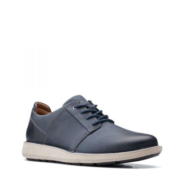 Мъжки ежедневни кожени обувки Clarks Un LarvikLace2 морско синьо - снимка 1