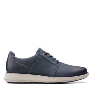 Мъжки ежедневни кожени обувки Clarks Un LarvikLace2 морско синьо - снимка 2